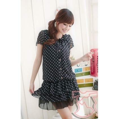 Nursing Dress - Chiffon Sweet Dot Black