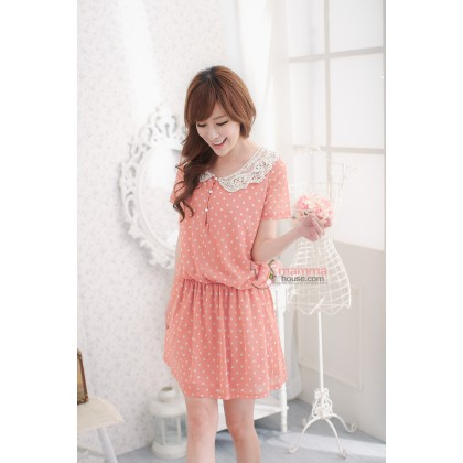 Nursing Dress - Orris Lace Collar Pokla Orange Pink