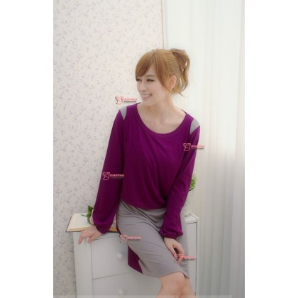 Nursing Dress - Long Grey Purple