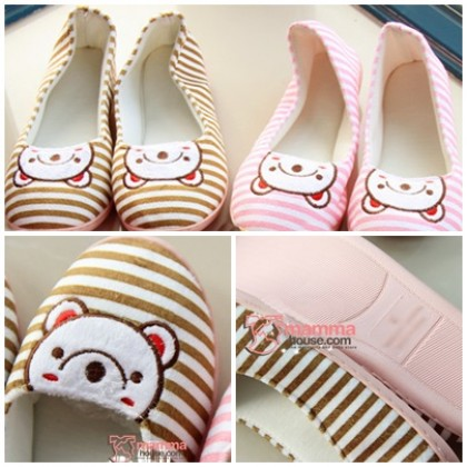 Confinement shoes - Bear Stripe (Brown or Pink)
