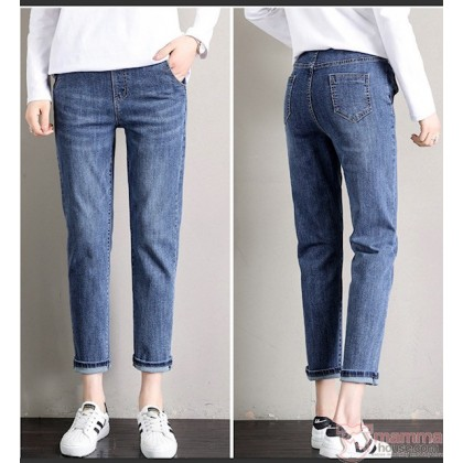 Maternity Jeans - Straight Elastic Black or Blue