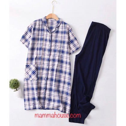 Mamma Pajamas - JP Grid Blue or Red (set)
