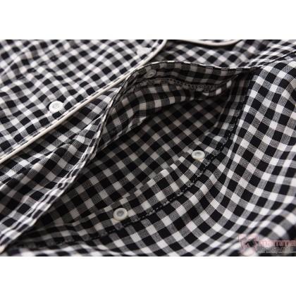 Mamma Pajamas - JP Long Grid Black (set)