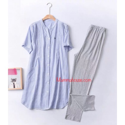 Mamma Pajamas - JP Line Blue (set)