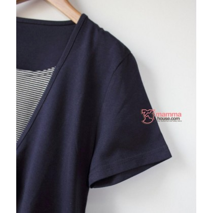 Nursing Tops - JP V Stripe Dark Blue