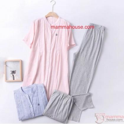 Maternity, Nursing Pajamas - JP Line Pink (set)