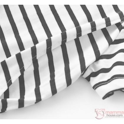 Mamma Pajamas - JP Stripe Light Grey Long (set)