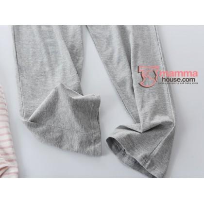 Mamma Pajamas - JP Stripe Pink (set) White Collar