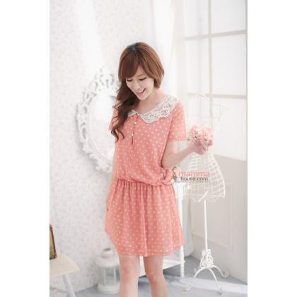 Nursing Dress - Orris Lace Collar Pokla Orange Pink