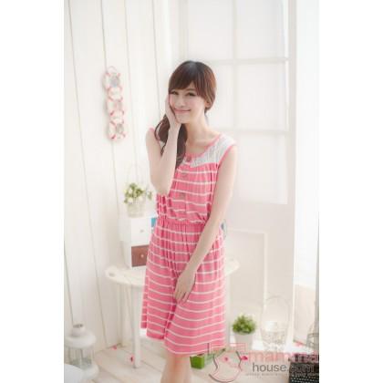 Nursing Dress - Stripe Luscious Pink