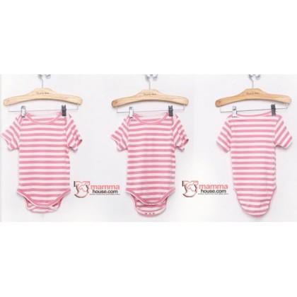 Nursing Set - Stripe Light Pink Short (plus baby romper)