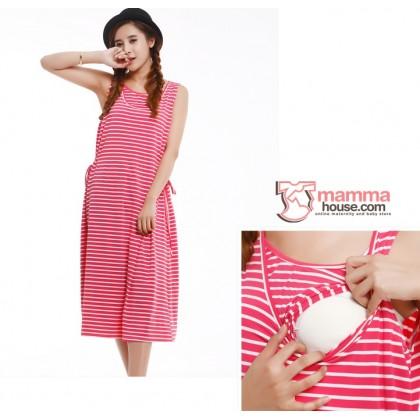 Nursing Dress - Long Singlet Dress Ribbon (3 colors)