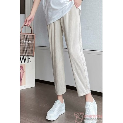 Maternity Pants - Working Linen Ankle Cream (S,M-4XL)