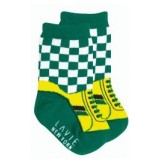 Baby Sock - boy shoe grid green