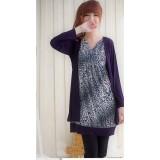 Nursing Dress - Leopard Long Purple