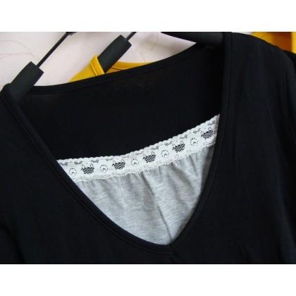 Nursing Tops - JP V Lace Black