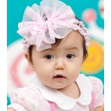 Baby Headband - Lace Ribbon Pink