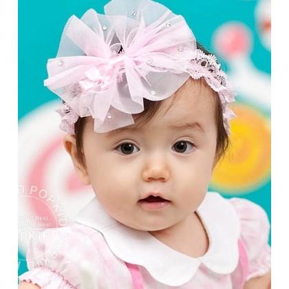 Baby Headband - Lace Ribbon Pink