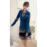 Nursing Dress - Layer Long Blue