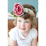 Baby Headband - Rose Dot Red