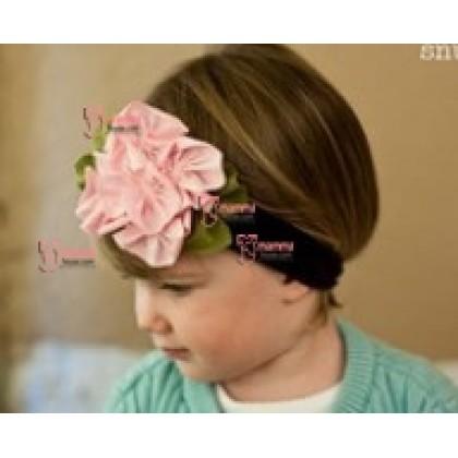Baby Headband - Flower Brown Pink