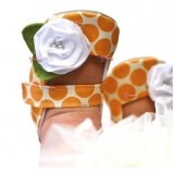 Baby Shoes - Rose Dot Orange