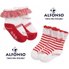 Baby girl sock - lace or ribbon red