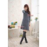Nursing Dress - Working Pocket Long Grey