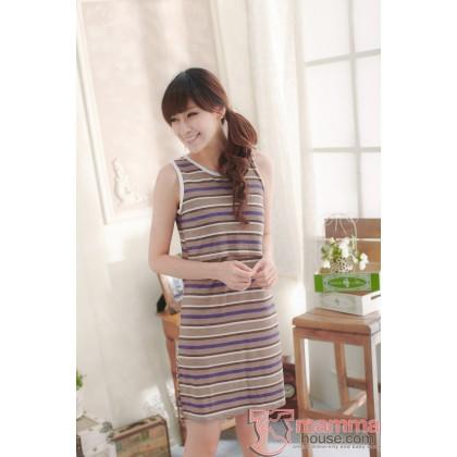 Nursing Singlet - Dress Stripe Brown