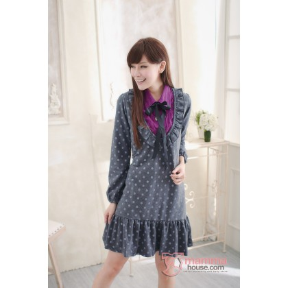 Nursing Dress - Long Pois Dark Grey