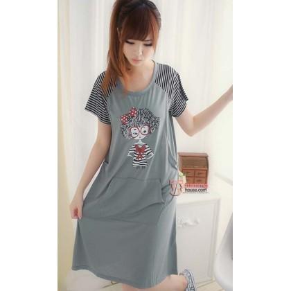 Maternity Pajamas Dress - Girl Grey