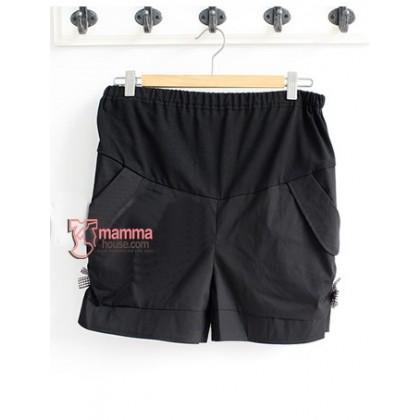 Maternity Shorts - Side Ribbon Black