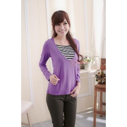 Nursing Tops - Long Mid Stripe Purple