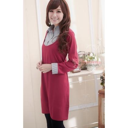 Nursing Dress - Long Collar Dress Maroon Red