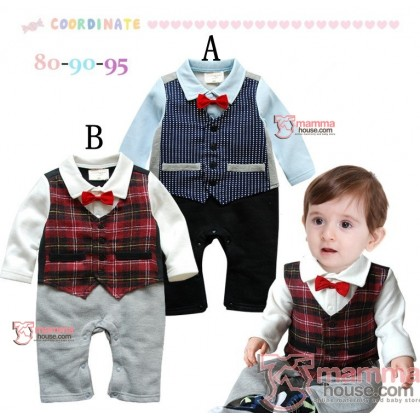 Baby Clothes - Romper Long Bowtie Grid Blue
