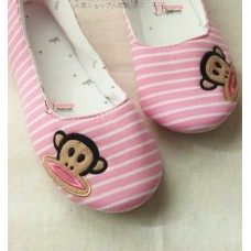 Mamma shoes - Stripe Monkey Pink-White