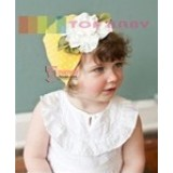 Baby Hat - Hat Flower White Yellow