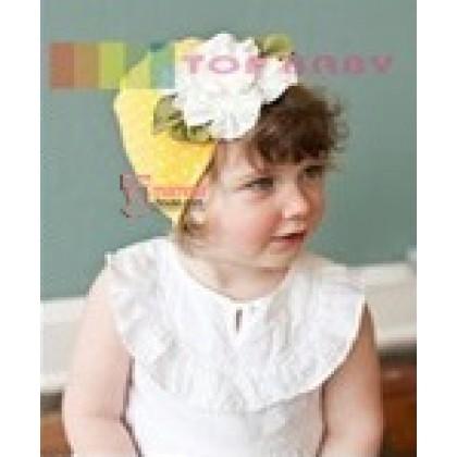 Baby Hat - Hat Flower White Yellow