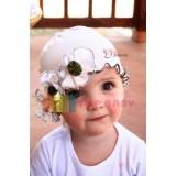 Baby Hat - Hat Flower 3 White