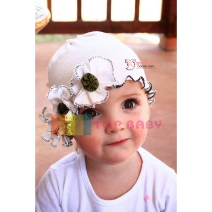 Baby Hat - Hat Flower 3 White