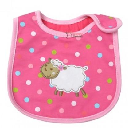 Baby Bib - Polka Sheep Pink