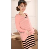 Maternity Dress - Long 2pcs Pink Stripe