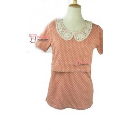 Nursing Tops - JP Lace Collar Pink Orange