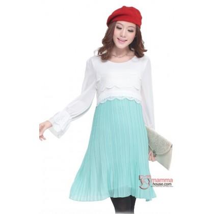 Nursing Dress - White Lace Chiffon Green Long