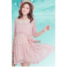 Maternity Dress - Joy Lace Collar Peach