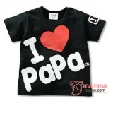 Baby Tops - Love Papa Tops Black