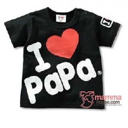 Baby Tops - Love Papa Tops Black