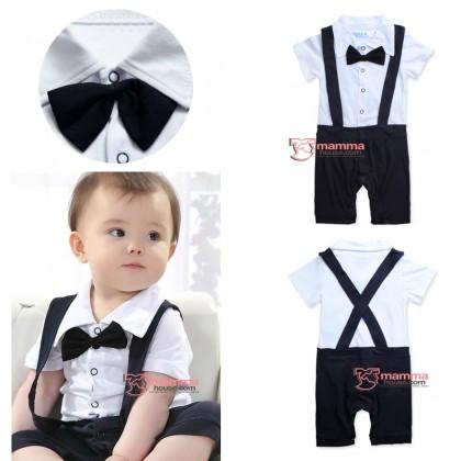 Baby Clothes - Romper Strap Pants Bowtie