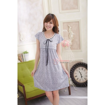 Nursing Dress - Ribbon Dot Light Grey Little