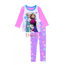 Baby Pajamas - 2 pcs Long Anna Elsa Snowman Pink